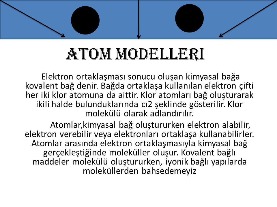 Atom modelleri Elektron ortaklaşması sonucu oluşan kimyasal bağa kovalent bağ denir. Bağda ortaklaşa kullanılan elektron çifti her iki klor atomuna da