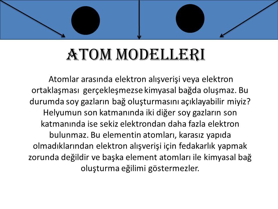 Atom modelleri Atomlar arasında elektron alışverişi veya elektron ortaklaşması gerçekleşmezse kimyasal bağda oluşmaz. Bu durumda soy gazların bağ oluş