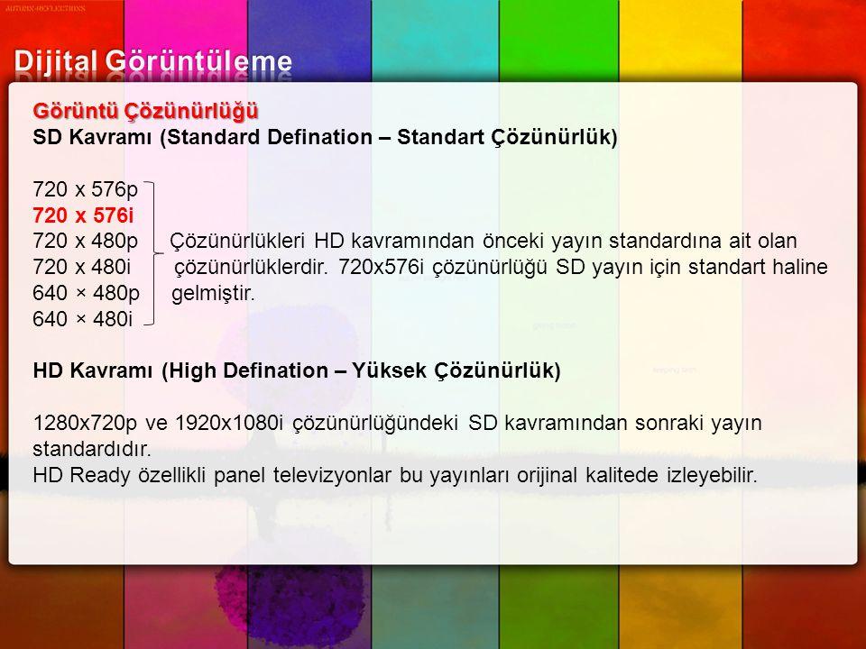 Görüntü Çözünürlüğü SD Kavramı (Standard Defination – Standart Çözünürlük) 720 x 576p 720 x 576i 720 x 480p Çözünürlükleri HD kavramından önceki yayın