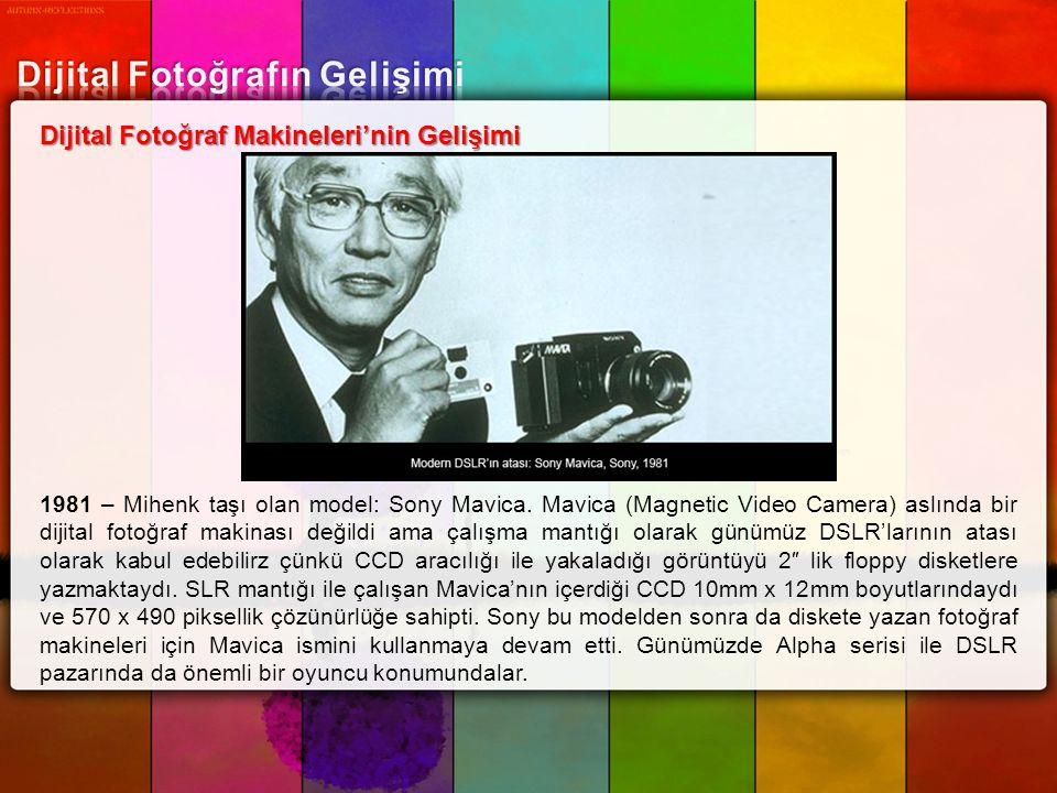 Dijital Fotoğraf Makineleri'nin Gelişimi 1981 – Mihenk taşı olan model: Sony Mavica. Mavica (Magnetic Video Camera) aslında bir dijital fotoğraf makin
