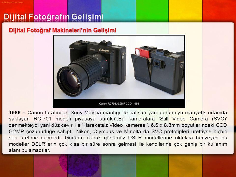 Dijital Fotoğraf Makineleri'nin Gelişimi 1986 – Canon tarafından Sony Mavica mantığı ile çalışan yani görüntüyü manyetik ortamda saklayan RC-701 model