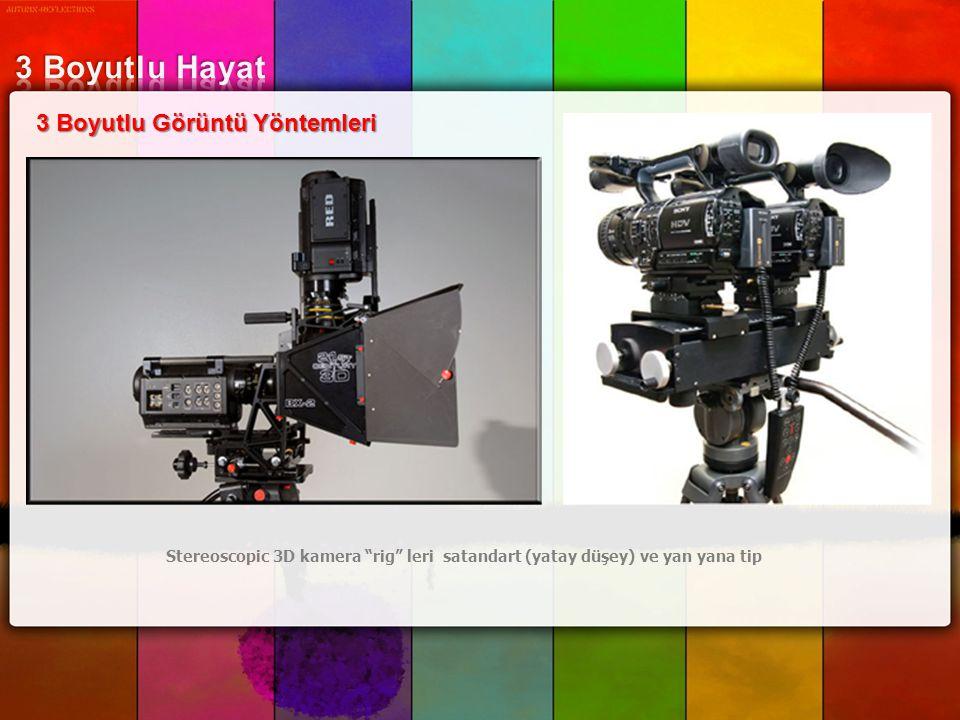 """3 Boyutlu Görüntü Yöntemleri Stereoscopic 3D kamera """"rig"""" leri satandart (yatay düşey) ve yan yana tip"""