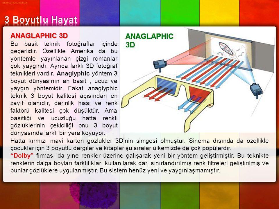 ANAGLAPHIC 3D Bu basit teknik fotoğraflar içinde geçerlidir. Özellikle Amerika da bu yöntemle yayınlanan çizgi romanlar çok yaygındı. Ayrıca farklı 3D