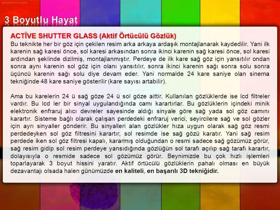 ACTİVE SHUTTER GLASS (Aktif Örtücülü Gözlük) Bu teknikte her bir göz için çekilen resim arka arkaya ardaşık montajlanarak kaydedilir. Yani ilk karenin