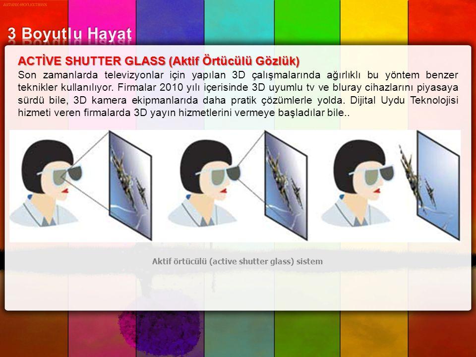 ACTİVE SHUTTER GLASS (Aktif Örtücülü Gözlük) Son zamanlarda televizyonlar için yapılan 3D çalışmalarında ağırlıklı bu yöntem benzer teknikler kullanıl