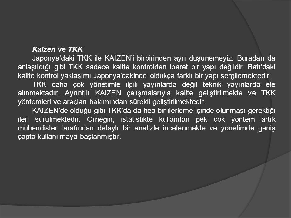 Kaizen ve TKK Japonya'daki TKK ile KAIZEN'i birbirinden ayrı düşünemeyiz. Buradan da anlaşıldığı gibi TKK sadece kalite kontrolden ibaret bir yapı değ