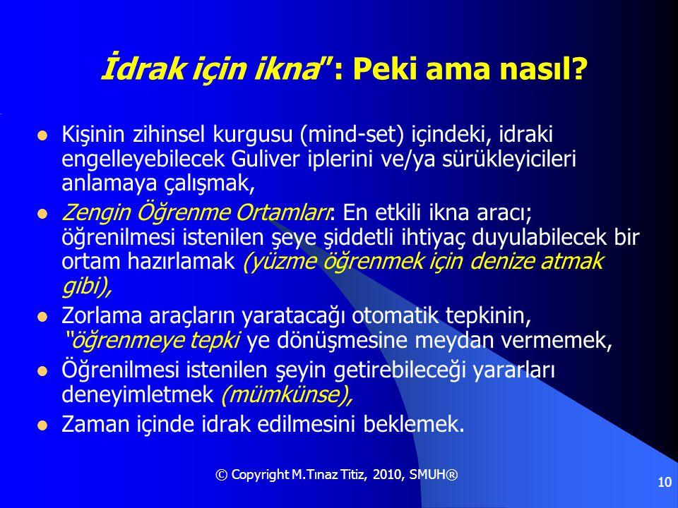 """© Copyright M.Tınaz Titiz, 2010, SMUH® 10 """"İdrak için ikna"""": Peki ama nasıl?  Kişinin zihinsel kurgusu (mind-set) içindeki, idraki engelleyebilecek G"""