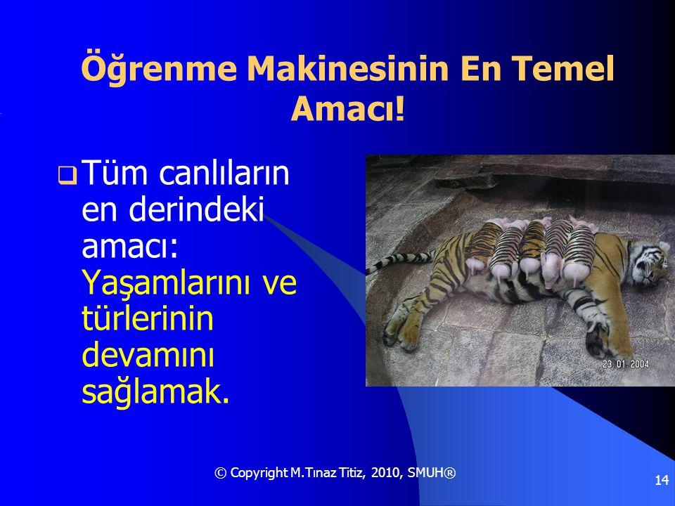 © Copyright M.Tınaz Titiz, 2010, SMUH® 14 Öğrenme Makinesinin En Temel Amacı!  Tüm canlıların en derindeki amacı: Yaşamlarını ve türlerinin devamını