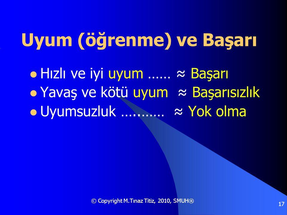 © Copyright M.Tınaz Titiz, 2010, SMUH® 17 Uyum (öğrenme) ve Başarı  Hızlı ve iyi uyum …… ≈ Başarı  Yavaş ve kötü uyum ≈ Başarısızlık  Uyumsuzluk ….