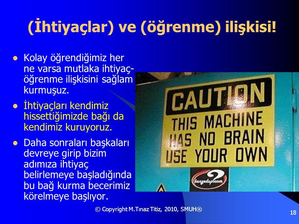 © Copyright M.Tınaz Titiz, 2010, SMUH® 18 (İhtiyaçlar) ve (öğrenme) ilişkisi!  Kolay öğrendiğimiz her ne varsa mutlaka ihtiyaç- öğrenme ilişkisini sa