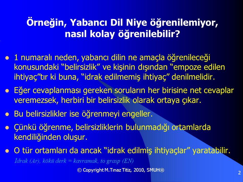 © Copyright M.Tınaz Titiz, 2010, SMUH® 2 Örneğin, Yabancı Dil Niye öğrenilemiyor, nasıl kolay öğrenilebilir?  1 numaralı neden, yabancı dilin ne amaç