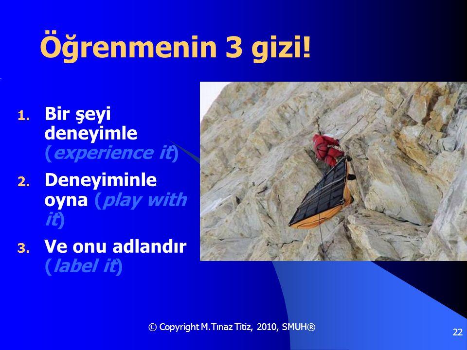 © Copyright M.Tınaz Titiz, 2010, SMUH® 22 Öğrenmenin 3 gizi! 1. Bir şeyi deneyimle (experience it) 2. Deneyiminle oyna (play with it) 3. Ve onu adland