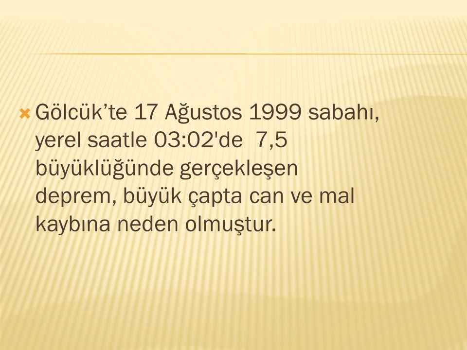  Gölcük'te 17 Ağustos 1999 sabahı, yerel saatle 03:02'de 7,5 büyüklüğünde gerçekleşen deprem, büyük çapta can ve mal kaybına neden olmuştur.
