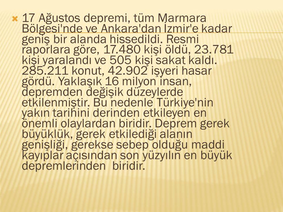  17 Ağustos depremi, tüm Marmara Bölgesi'nde ve Ankara'dan İzmir'e kadar geniş bir alanda hissedildi. Resmi raporlara göre, 17.480 kişi öldü, 23.781