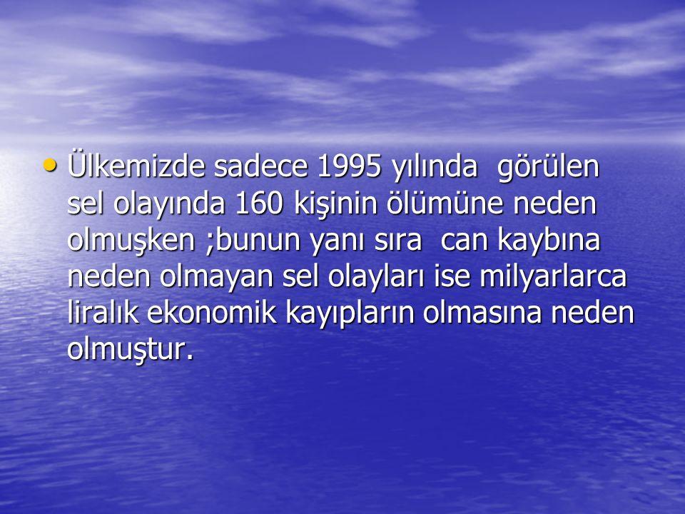 • Ülkemizde sadece 1995 yılında görülen sel olayında 160 kişinin ölümüne neden olmuşken ;bunun yanı sıra can kaybına neden olmayan sel olayları ise mi