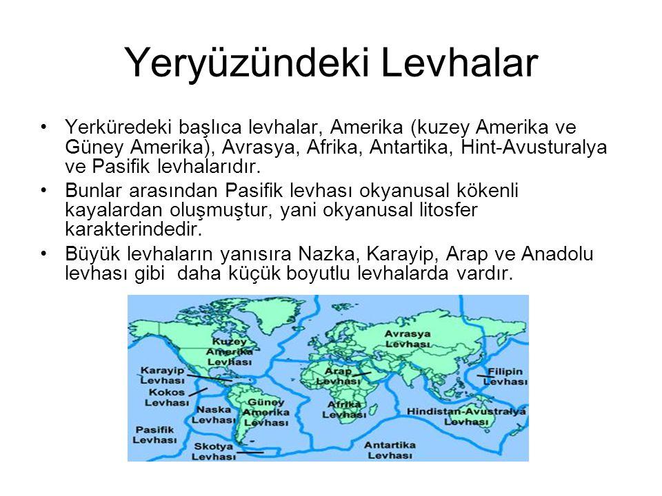 Yeryüzündeki Levhalar •Yerküredeki başlıca levhalar, Amerika (kuzey Amerika ve Güney Amerika), Avrasya, Afrika, Antartika, Hint-Avusturalya ve Pasifik