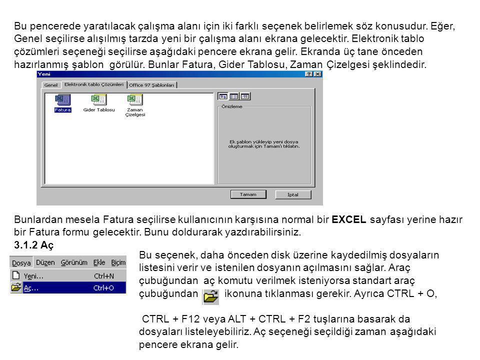 Bu pencerede yaratılacak çalışma alanı için iki farklı seçenek belirlemek söz konusudur.