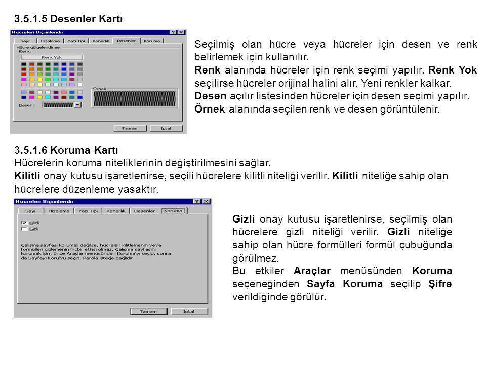 3.5.1.5 Desenler Kartı Seçilmiş olan hücre veya hücreler için desen ve renk belirlemek için kullanılır.