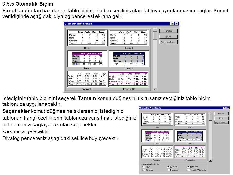 3.5.5 Otomatik Biçim Excel tarafından hazırlanan tablo biçimlerinden seçilmiş olan tabloya uygulanmasını sağlar.