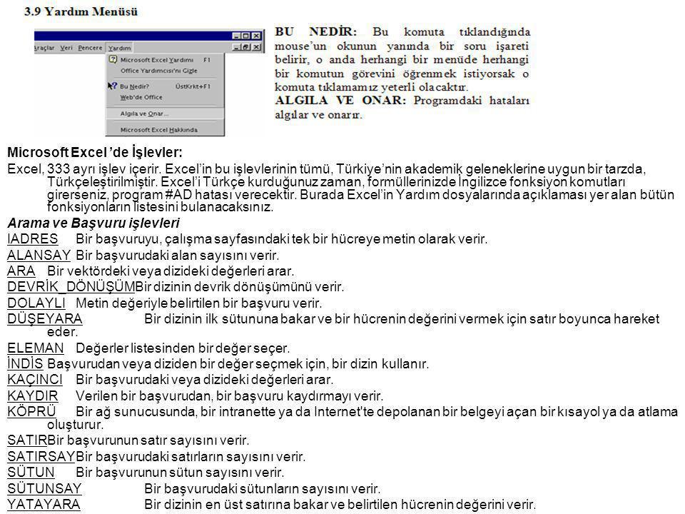 Microsoft Excel 'de İşlevler: Excel, 333 ayrı işlev içerir.