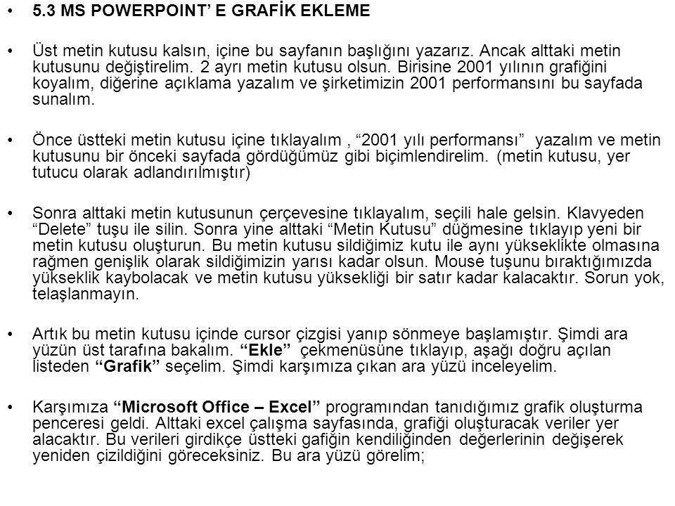 •5.3 MS POWERPOINT' E GRAFİK EKLEME •Üst metin kutusu kalsın, içine bu sayfanın başlığını yazarız.