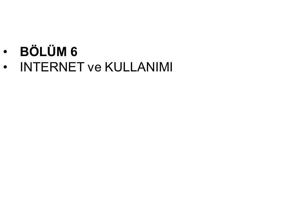 •BÖLÜM 6 •INTERNET ve KULLANIMI
