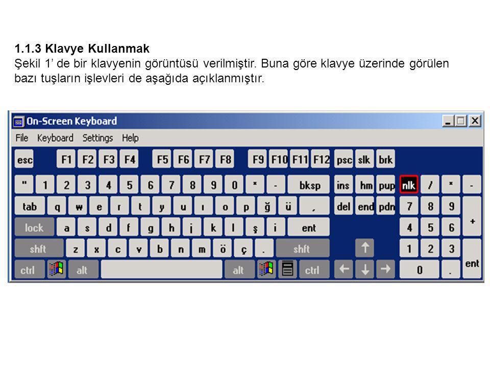 1.1.3 Klavye Kullanmak Şekil 1' de bir klavyenin görüntüsü verilmiştir.