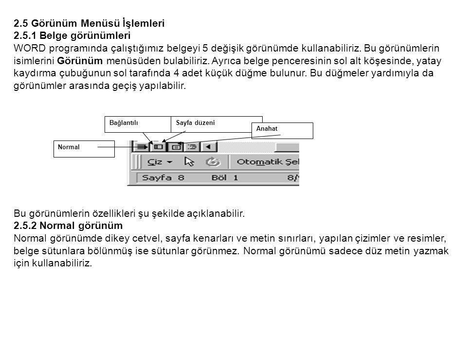 2.5 Görünüm Menüsü İşlemleri 2.5.1 Belge görünümleri WORD programında çalıştığımız belgeyi 5 değişik görünümde kullanabiliriz.