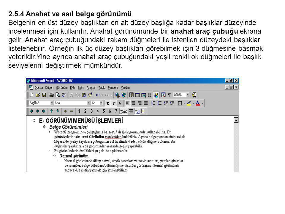 2.5.4 Anahat ve asıl belge görünümü Belgenin en üst düzey başlıktan en alt düzey başlığa kadar başlıklar düzeyinde incelenmesi için kullanılır.