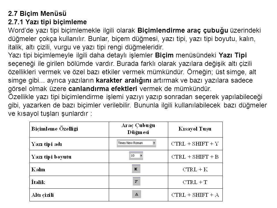 2.7 Biçim Menüsü 2.7.1 Yazı tipi biçimleme Word'de yazı tipi biçimlemekle ilgili olarak Biçimlendirme araç çubuğu üzerindeki düğmeler çokça kullanılır.