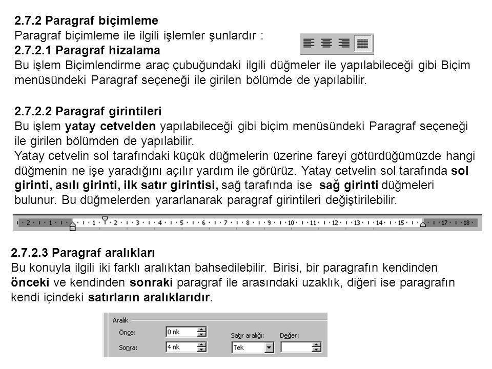 2.7.2 Paragraf biçimleme Paragraf biçimleme ile ilgili işlemler şunlardır : 2.7.2.1 Paragraf hizalama Bu işlem Biçimlendirme araç çubuğundaki ilgili düğmeler ile yapılabileceği gibi Biçim menüsündeki Paragraf seçeneği ile girilen bölümde de yapılabilir.