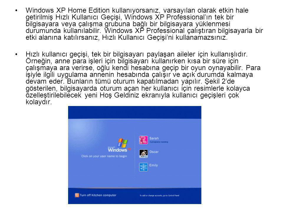 •Windows XP Home Edition kullanıyorsanız, varsayılan olarak etkin hale getirilmiş Hızlı Kullanıcı Geçişi, Windows XP Professional'ın tek bir bilgisayara veya çalışma grubuna bağlı bir bilgisayara yüklenmesi durumunda kullanılabilir.