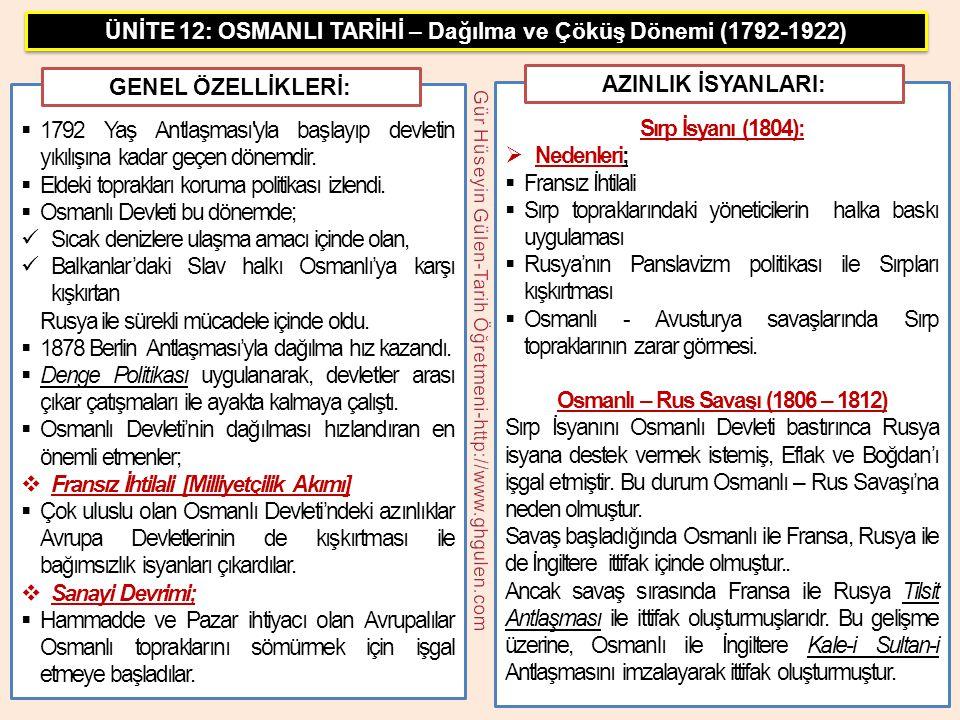  Osmanlı – Rus savaşı 1812 yılında Bükreş Antlaşması ile bitti.