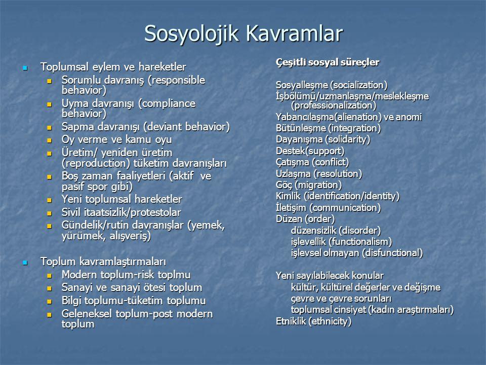 Sosyolojik Kavramlar  Toplumsal eylem ve hareketler  Sorumlu davranış (responsible behavior)  Uyma davranışı (compliance behavior)  Sapma davranış