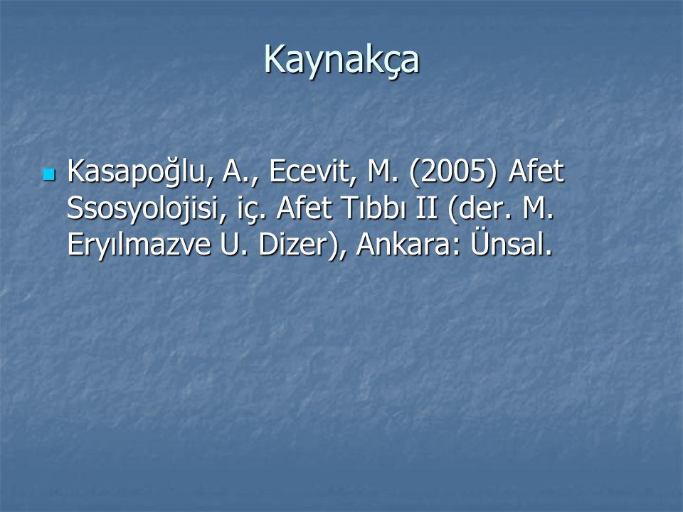 Kaynakça  Kasapoğlu, A., Ecevit, M. (2005) Afet Ssosyolojisi, iç. Afet Tıbbı II (der. M. Eryılmazve U. Dizer), Ankara: Ünsal.
