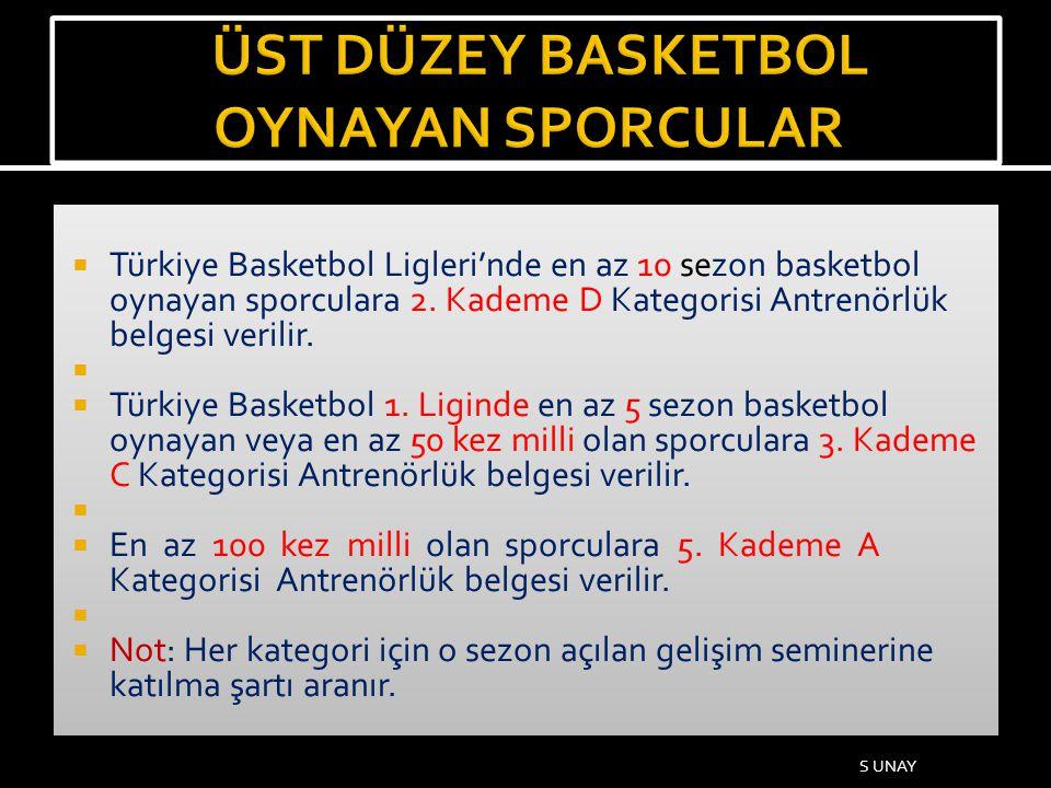  Türkiye Basketbol Ligleri'nde en az 10 sezon basketbol oynayan sporculara 2. Kademe D Kategorisi Antrenörlük belgesi verilir.   Türkiye Basketbol
