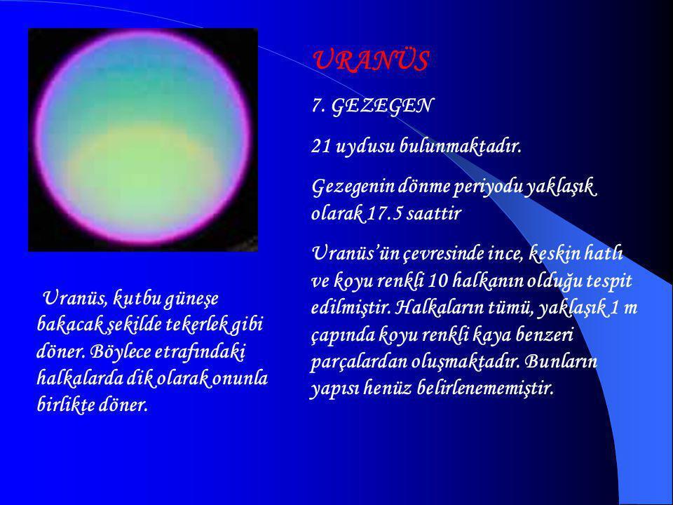 SATÜRN 6. GEZEGEN Güneş sisteminde yoğunluğu sudan az olan tek gezegendir. Eğer Satürn'ü okyanus üzerine bırakabilseydik suya batmaz, yüzerdi. Gezegen