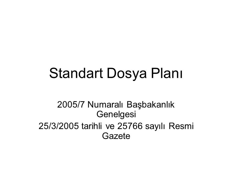 Standart Dosya Planı 2005/7 Numaralı Başbakanlık Genelgesi 25/3/2005 tarihli ve 25766 sayılı Resmi Gazete