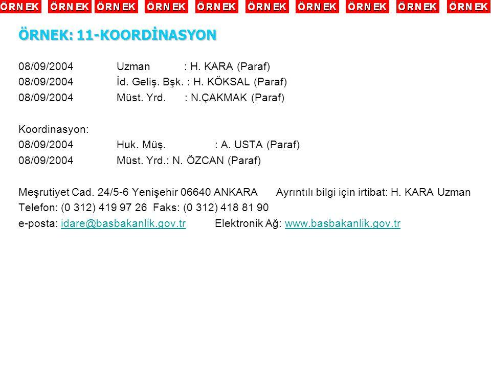 08/09/2004Uzman : H. KARA (Paraf) 08/09/2004İd. Geliş. Bşk. : H. KÖKSAL (Paraf) 08/09/2004Müst. Yrd. : N.ÇAKMAK (Paraf) Koordinasyon: 08/09/2004Huk. M