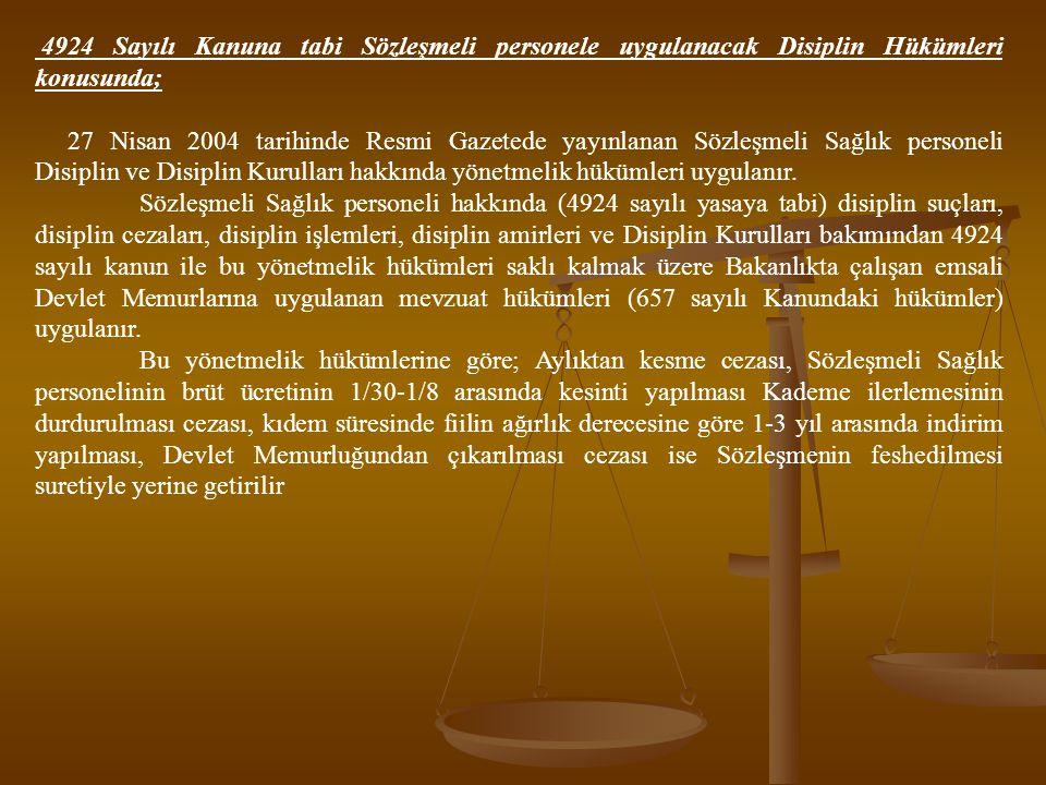 4924 Sayılı Kanuna tabi Sözleşmeli personele uygulanacak Disiplin Hükümleri konusunda; 27 Nisan 2004 tarihinde Resmi Gazetede yayınlanan Sözleşmeli Sa