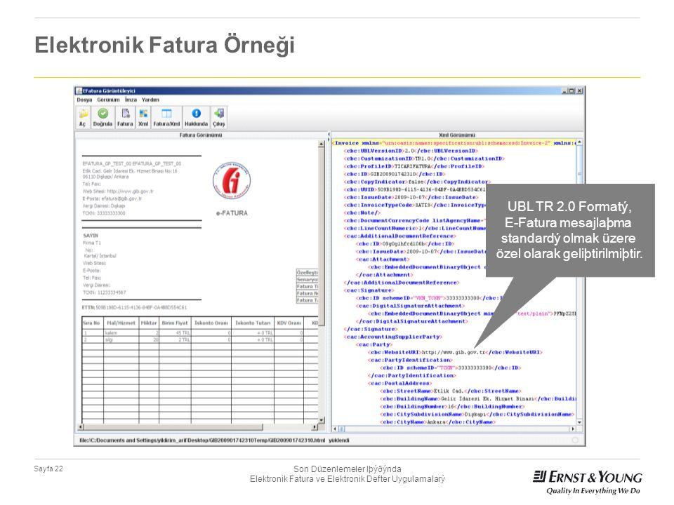Son Düzenlemeler Iþýðýnda Elektronik Fatura ve Elektronik Defter Uygulamalarý Sayfa 22 Elektronik Fatura Örneği UBL TR 2.0 Formatý, E-Fatura mesajlaþm