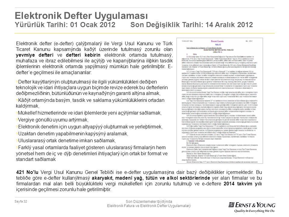 Son Düzenlemeler Iþýðýnda Elektronik Fatura ve Elektronik Defter Uygulamalarý Sayfa 32 Elektronik Defter Uygulaması Yürürlük Tarihi: 01 Ocak 2012 Son