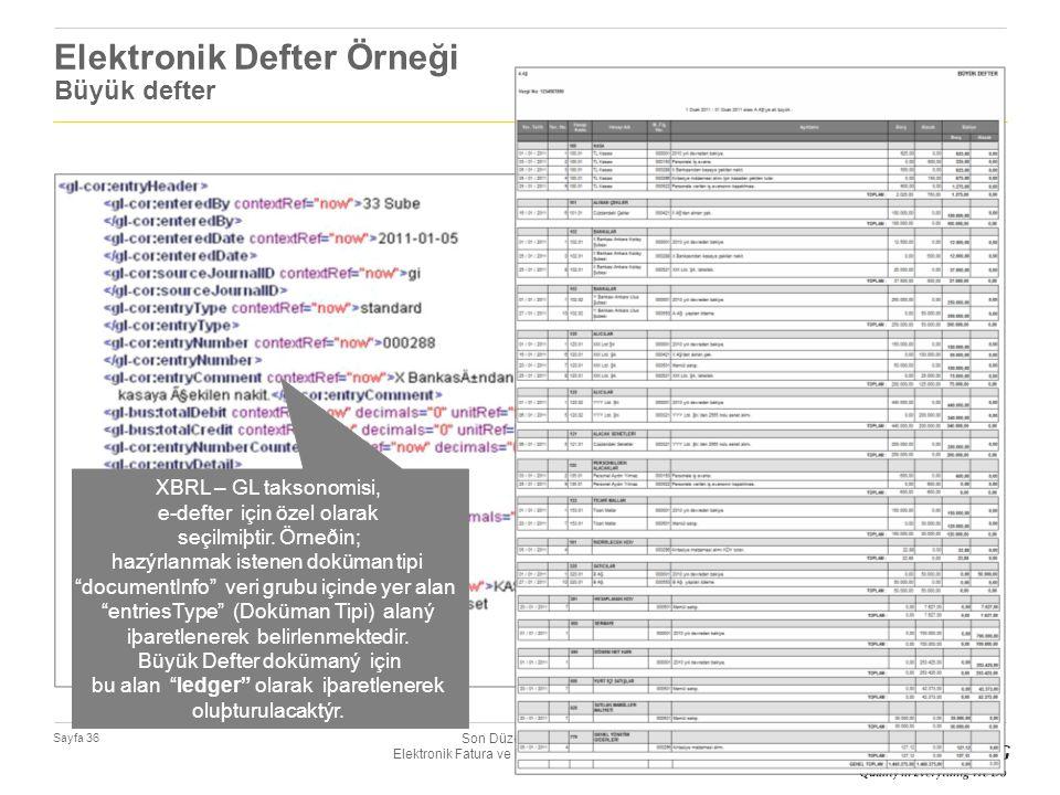 Son Düzenlemeler Iþýðýnda Elektronik Fatura ve Elektronik Defter Uygulamalarý Sayfa 36 Elektronik Defter Örneği Büyük defter XBRL – GL taksonomisi, e-