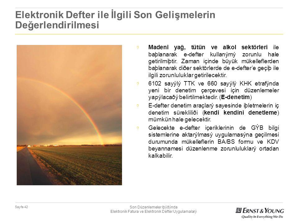 Son Düzenlemeler Iþýðýnda Elektronik Fatura ve Elektronik Defter Uygulamalarý Sayfa 42 Elektronik Defter ile İlgili Son Gelişmelerin Değerlendirilmesi
