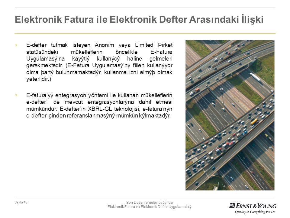 Son Düzenlemeler Iþýðýnda Elektronik Fatura ve Elektronik Defter Uygulamalarý Sayfa 45 Elektronik Fatura ile Elektronik Defter Arasındaki İlişki ? E-d