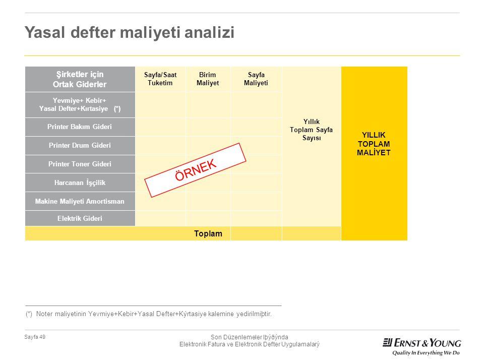 Son Düzenlemeler Iþýðýnda Elektronik Fatura ve Elektronik Defter Uygulamalarý Sayfa 49 Yasal defter maliyeti analizi Şirketler için Ortak Giderler Say