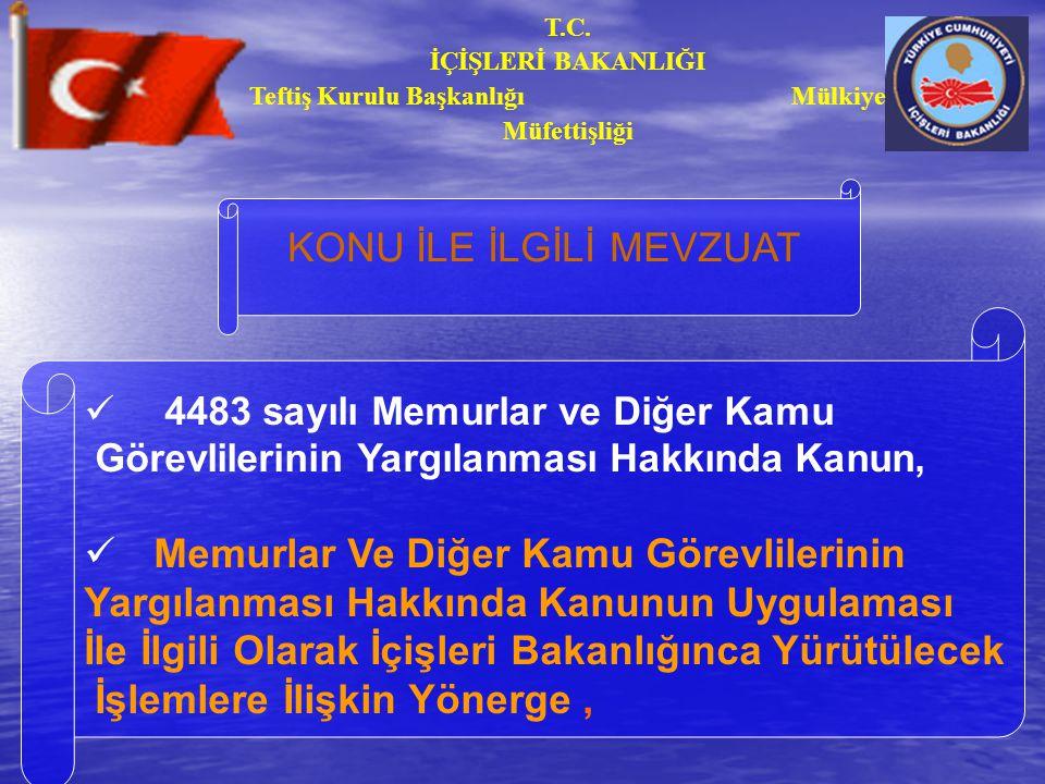 T.C.İÇİŞLERİ BAKANLIĞI Teftiş Kurulu Başkanlığı Mülkiye Müfettişliği KAST 5237 Sayılı TCK.