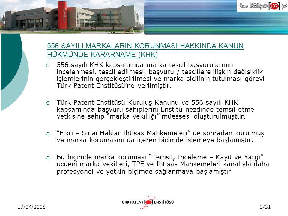 17/04/2008 556 SAYILI MARKALARIN KORUNMASI HAKKINDA KANUN HÜKMÜNDE KARARNAME (KHK)  556 sayılı KHK kapsamında marka tescil başvurularının incelenmesi