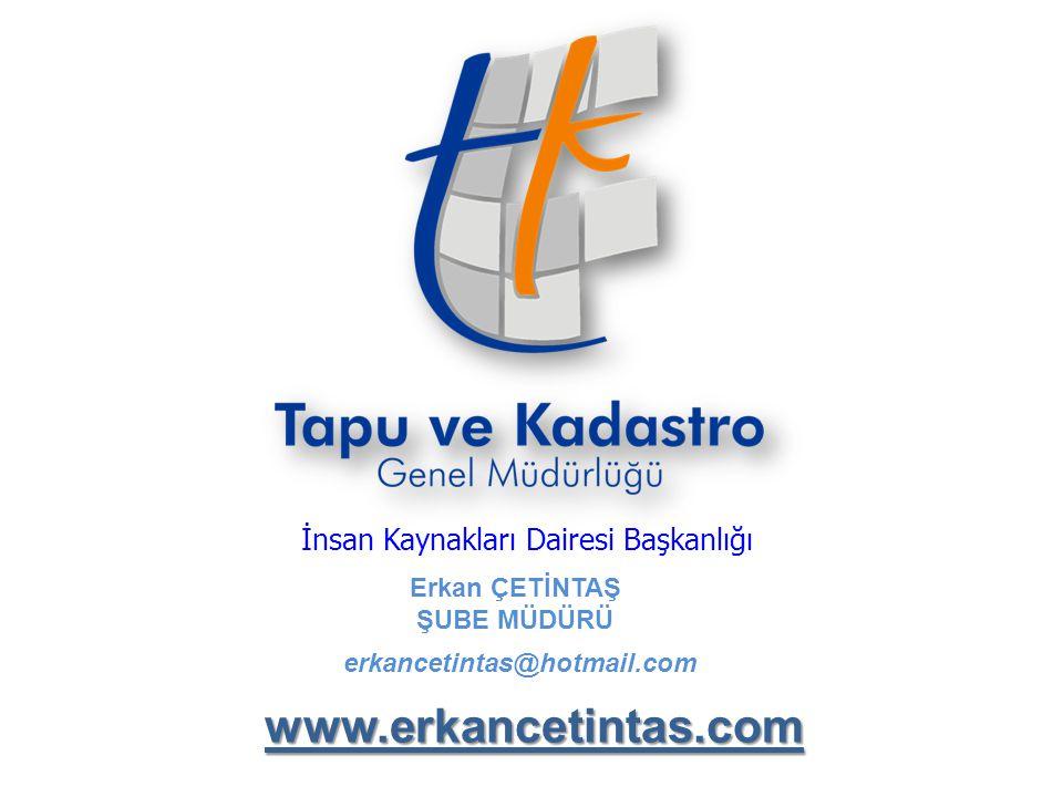 Erkan ÇETİNTAŞ ŞUBE MÜDÜRÜ İnsan Kaynakları Dairesi Başkanlığı erkancetintas@hotmail.com www.erkancetintas.com