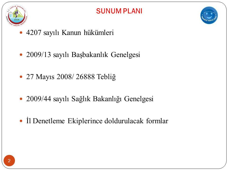 SUNUM PLANI  4207 sayılı Kanun hükümleri  2009/13 sayılı Başbakanlık Genelgesi  27 Mayıs 2008/ 26888 Tebliğ  2009/44 sayılı Sağlık Bakanlığı Genelgesi  İl Denetleme Ekiplerince doldurulacak formlar 2